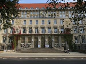 Prachtvolle Fassade der Deutschen Nationalbibliothek Leipzig
