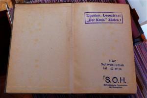 Drei Stempel belegen die lange Gechichte des Buches: Der Kreis - S.O.H. - HAZ