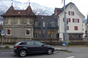 Antiquariatshaus, Verbindungsbau und Buchhandlung von aussen