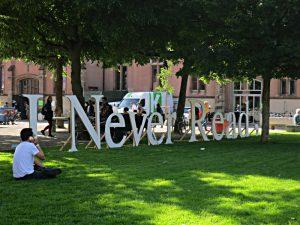 Buchstaben aus Karton: I never read