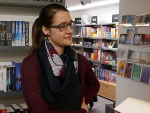 Buchhändlerin Kathrin Steinmann in ihrem Reich