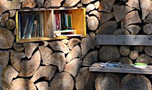 Bibliothek eingebaut in eine Holzbeige im Wald, Lesebank